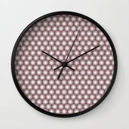 White Polka Dots and Circles Pattern on Pantone Red Pear Wall Clock