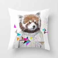 kris tate Throw Pillows featuring RED PANDA by Jamie Mitchell and Kris Tate by Kris Tate