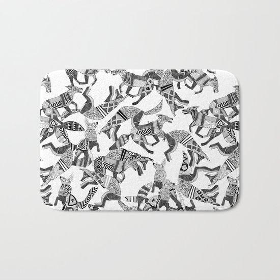 woodland fox party black white Bath Mat