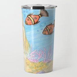 Mermaid Fantasy Art Watercolor Violet Travel Mug