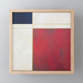 Blue, Red And White With Golden Lines Abstract Painting Framed Mini Art Print