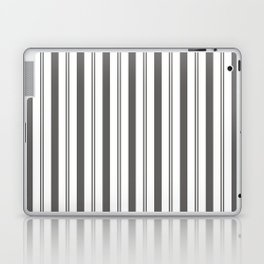Pantone Pewter Gray & White Wide & Narrow Vertical Lines Stripe Pattern Laptop & iPad Skin