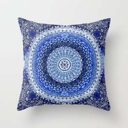 Cobalt Tapestry Mandala Throw Pillow