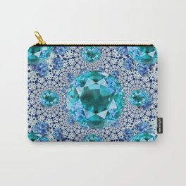 Aquamarine Gems Optical Pattern March Birthstone Art Carry-All Pouch