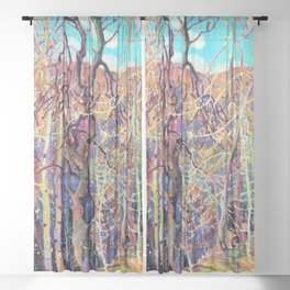 13,000px,600dpi-Franklin Carmichael - Silvery Tangle - Digital Remastered Edition Sheer Curtain