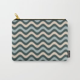Blue Willow Green & Alpaca Wool Cream Wavy Horizontal Stripes on Night Watch Green Carry-All Pouch
