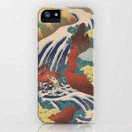 Yoshino Waterfalls Where Yoshitsune Washed his Horse by Katsushika Hokusai iPhone Case
