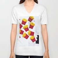fries V-neck T-shirts featuring Oh fries by Drica Lobo Art