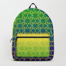 Geometry Star Pattern Yellow Green Blue Backpack