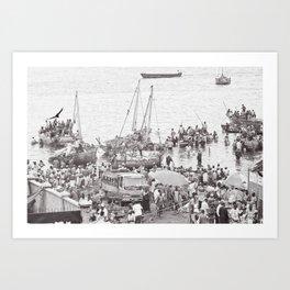 Busy Port in Stone Town, Zanzibar Art Print