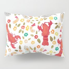 Seafood Spread with Flowers Pillow Sham