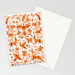 Mexican Otomí Design in Orange Color Stationery Cards