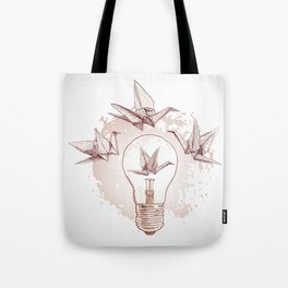 Origami paper cranes and light Tote Bag