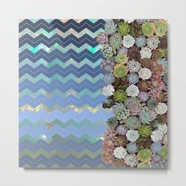 Opal & Succulent Chevron Pattern Metal Print