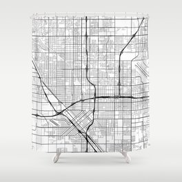 Fresno Map, USA - Black and White Shower Curtain
