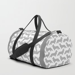 Grey and White Welsh Corgi Silhouettes Pattern Duffle Bag
