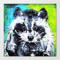 raccoon Canvas Prints featuring RACCOON by Maioriz Home