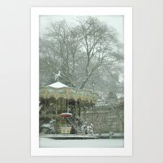 Snowy Carousel Paris Art Print