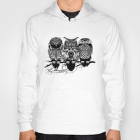 owls Hoodies featuring Owls of the Nile by Rachel Caldwell