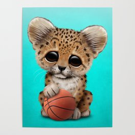 Leopard Cub Playing With Basketball Poster