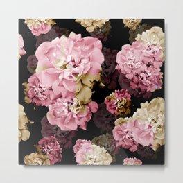 Rose pattern on dark background Metal Print