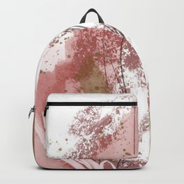 Sugar and Spice: a minimal, abstract mixed-media piece in pink and brown by Alyssa Hamilton Art Backpack