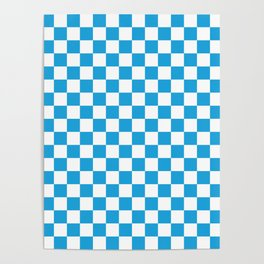 Oktoberfest Bavarian Large Blue and White Checkerboard Poster
