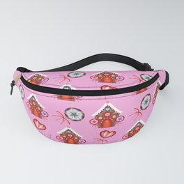gingerbread houses, candy lollipops. Retro vintage cozy baby pink Christmas pattern Fanny Pack