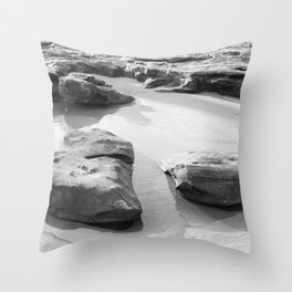 Rugged Rocks at Beach Throw Pillow