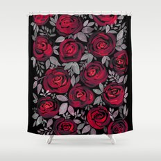 Watercolor red roses on black background Shower Curtain