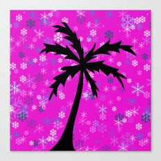 Palm Tree and Snowflakes Canvas Print