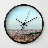 barcelona Wall Clocks featuring Barcelona by Julius Marc