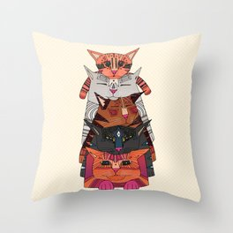pile of cats Throw Pillow