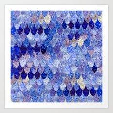 SUMMER MERMAID ROYAL BLUE Art Print