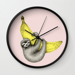 Bananas about you - pink Wall Clock