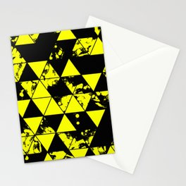 Splatter Triangles In Black And Yellow Stationery Cards