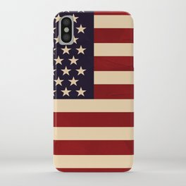 American Flag Vintage Americana Red Navy Blue Beige iPhone Case