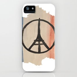 Outline of France with Tri-color Peace iPhone Case