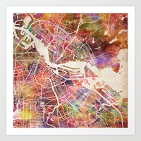 amsterdam Art Prints featuring Amsterdam by MapMapMaps.Watercolors