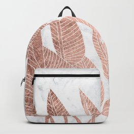 Modern faux Rose gold leaf tropical white marble illustration Backpack