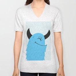 Blue happy monster Unisex V-Neck