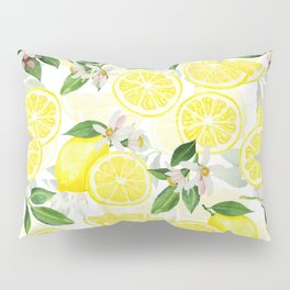 mediterranean summer lemon fruits on white Pillow Sham