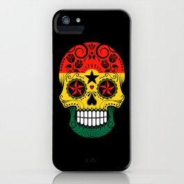 Sugar Skull with Roses and Flag of Ghana iPhone Case