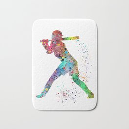 Baseball Softball Player Sports Art Print Watercolor Print Girl's softball Bath Mat