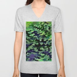 Foliage Abstract Camouflage In Forest Green and Black Unisex V-Neck