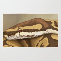 monty python Area & Throw Rugs featuring Ball Python (Odysseus) by WesSide