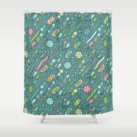 biology Shower Curtains featuring Microbes by Anna Alekseeva kostolom3000