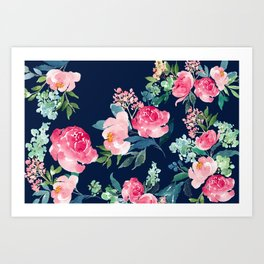 Navy and Pink Watercolor Peony Art Print