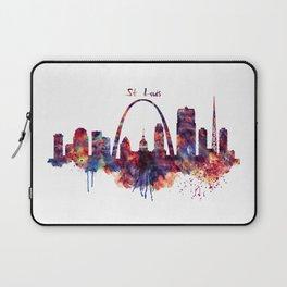 St Louis Watercolor Skyline Laptop Sleeve