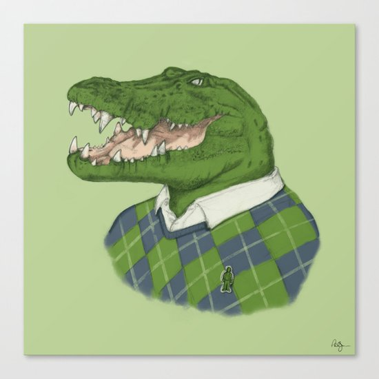 Argyle Crocodile Canvas Print